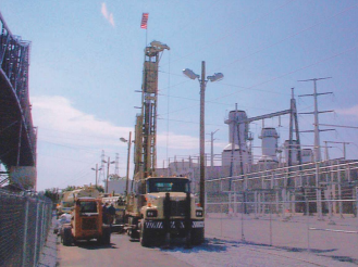 Installation of a cathodic protection deep anode groundbed system for a power plant application.